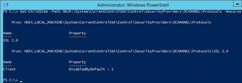 Disable TLS on Server 2012 R2 in the Registry with PowerShell